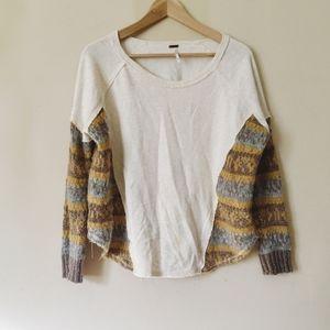 Free People creme scoop neck sweater sz xs